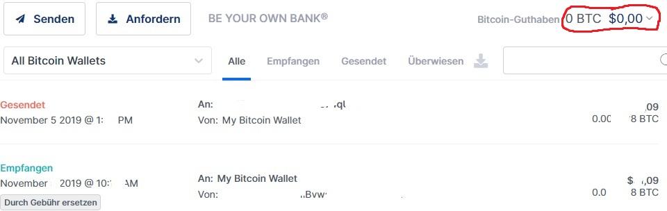 Bitcoin-Transfer, der nicht in der Munzbasis-Brieftasche angezeigt wird