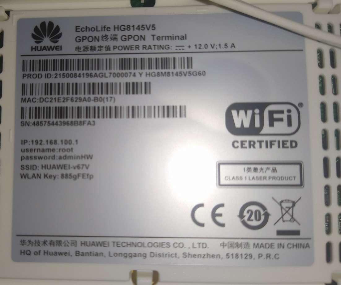 User Password Default Modem Huawei Hg8245h