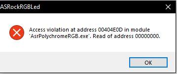ASrock RGBLED Utility funktioniert auf einmal nicht mehr, genauso