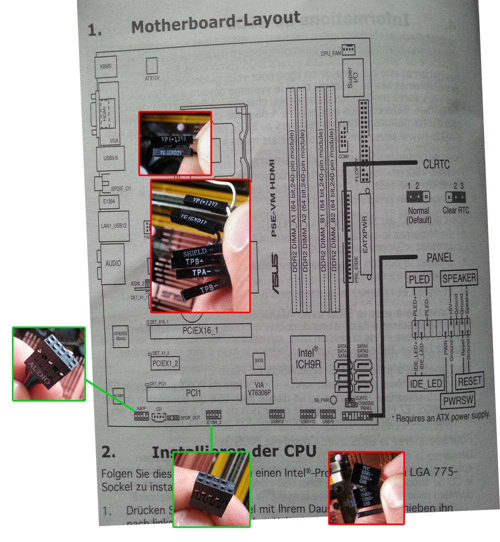 Mainboard Verkabelung mit Gehäuse   ComputerBase Forum
