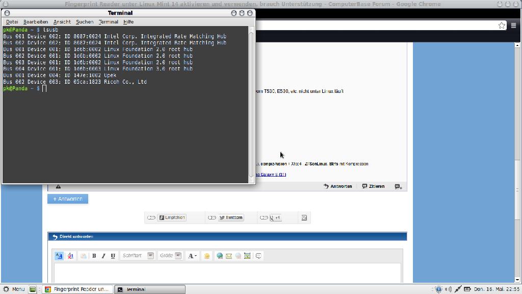 Fingerprint Reader unter Linux Mint 14 aktivieren und