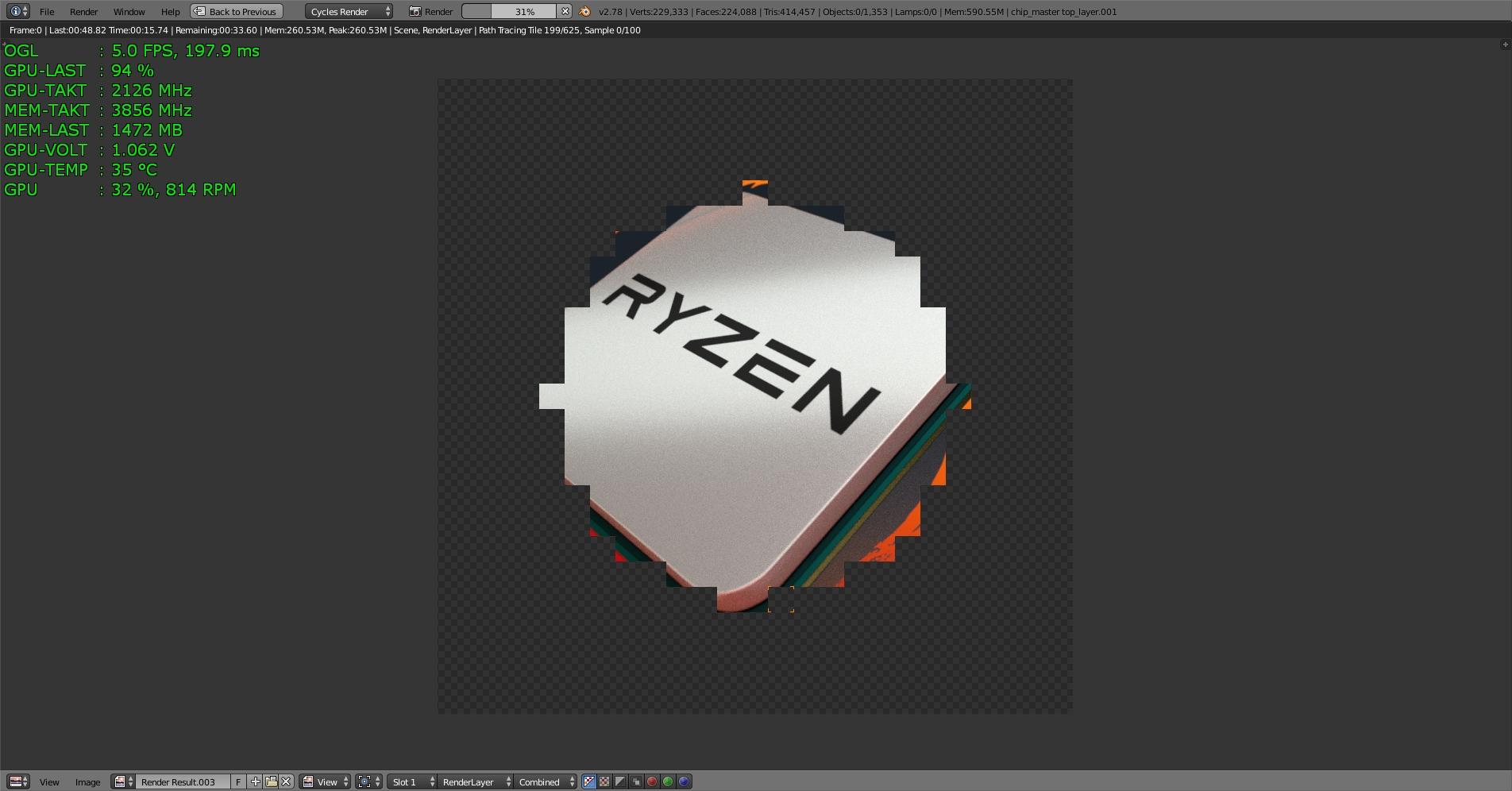Klicke auf die Grafik für eine größere Ansicht  Name:Blender 2.78a Test-RYZEN 100 Samples mit MSI GTX 1070 -1-.jpg Hits:124 Größe:423,2 KB ID:596524