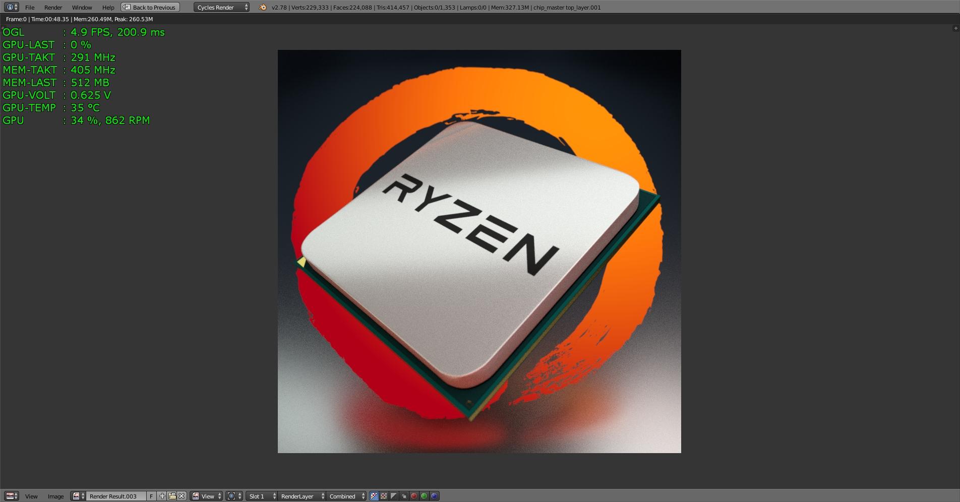 Klicke auf die Grafik für eine größere Ansicht  Name:Blender 2.78a Test-RYZEN 100 Samples mit MSI GTX 1070 -2-.jpg Hits:121 Größe:555,2 KB ID:596525