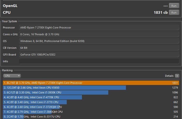 AMD Ryzen 2700x - Cinebench R15 Ergebnis | ComputerBase Forum