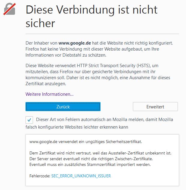 Firefox Meldung \