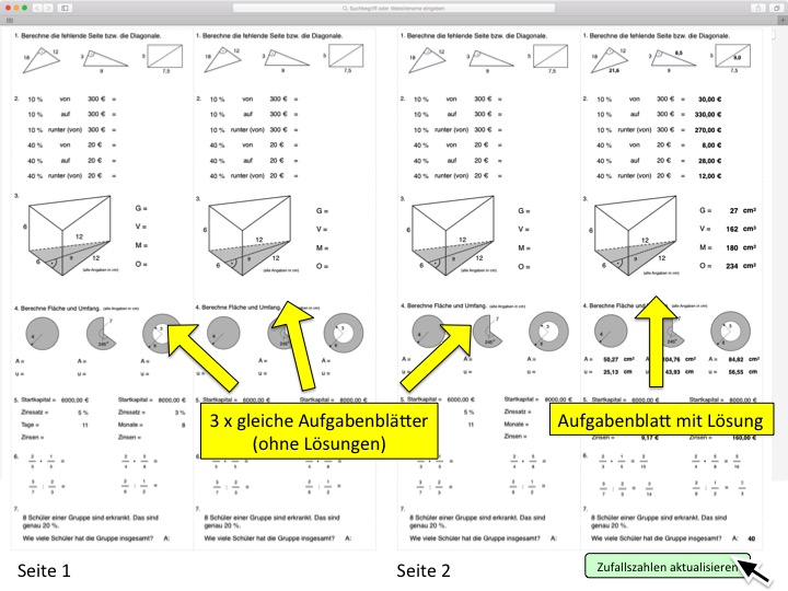 Dynamisches Mathe-Arbeitsblatt wir den Browser erstellen ...