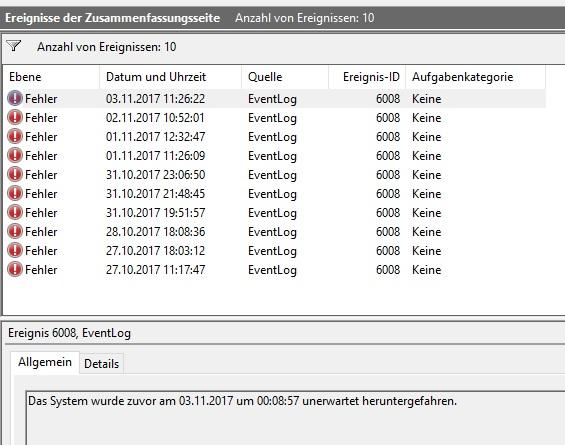 Klicke auf die Grafik für eine größere Ansicht  Name:EventLog_6008.jpg Hits:32 Größe:84,7 KB ID:650001