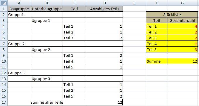 Stückliste Excel