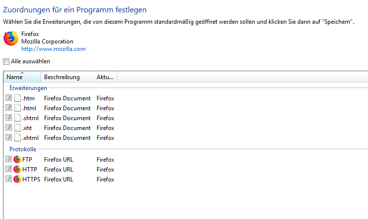 Firefox lässt sich nicht mehr als Standardbrowser einrichten