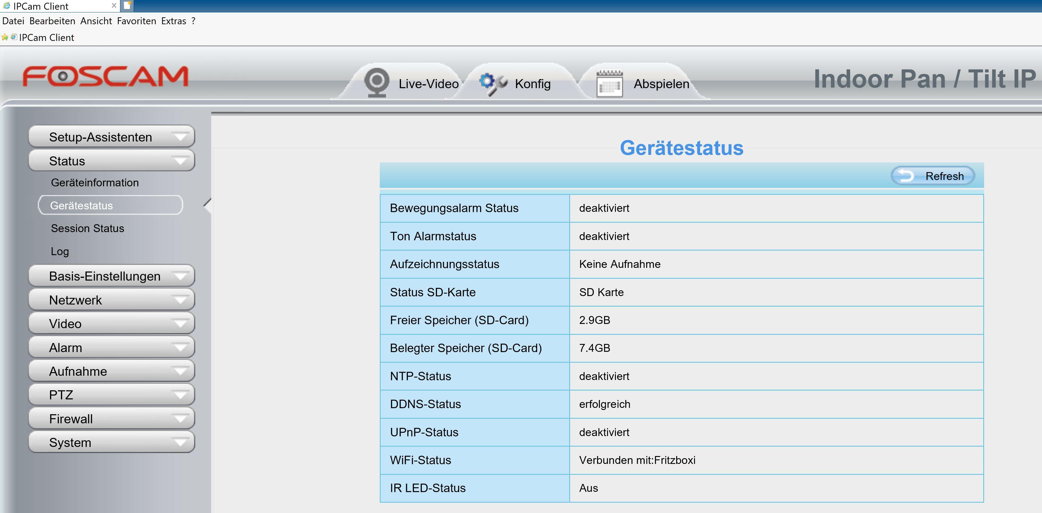 Foscam Web GUI - Erfolgreich.JPG