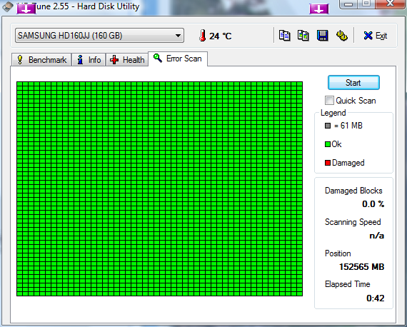 Klicke auf die Grafik für eine größere Ansicht  Name:HDTune_Error_Scan_SAMSUNG_HD160JJ.png Hits:360 Größe:45,2 KB ID:131713