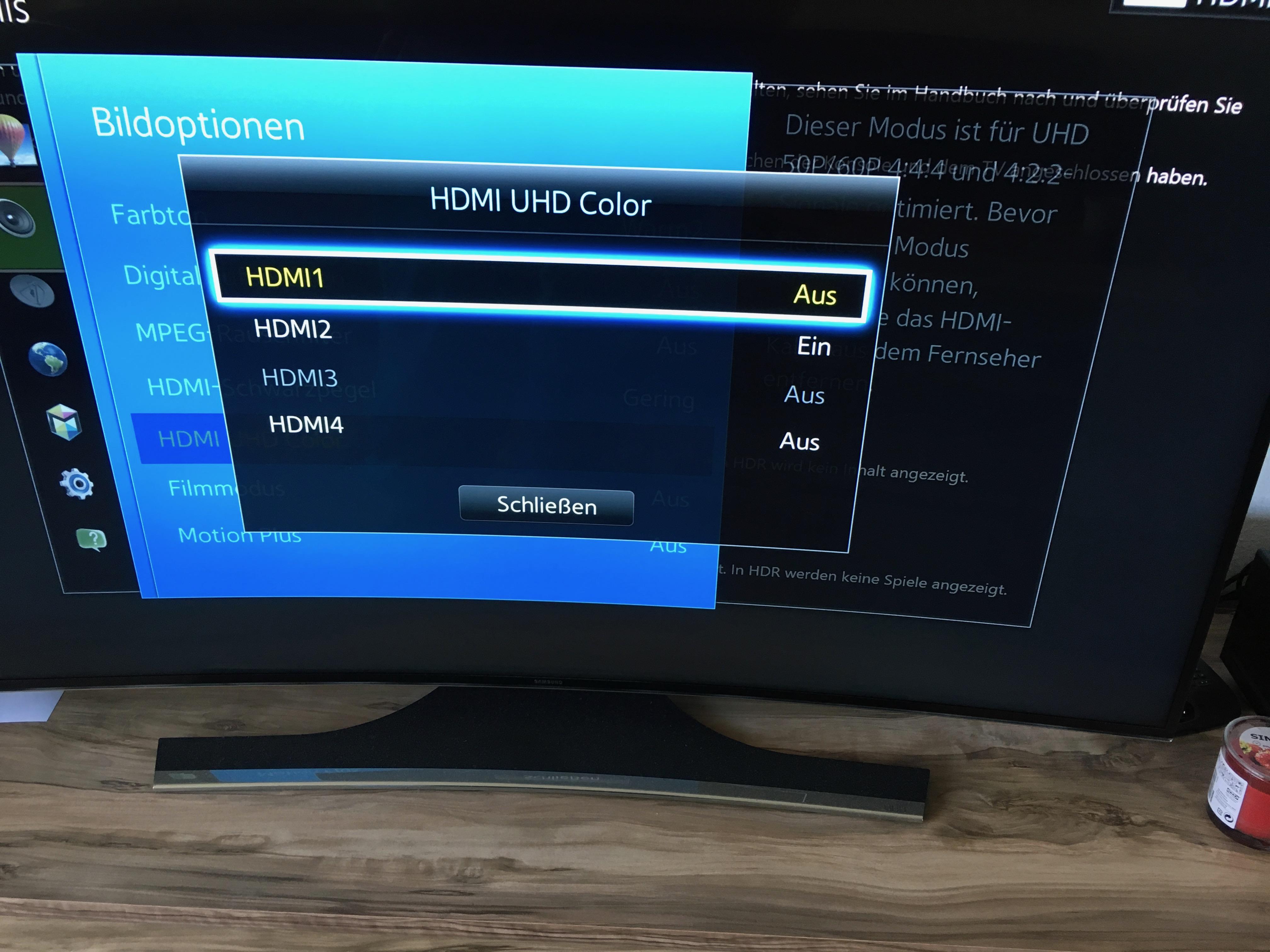 Samsung UHD TV und Xbox One S, Fragen zum Thema Farbraum, Bit 4k und