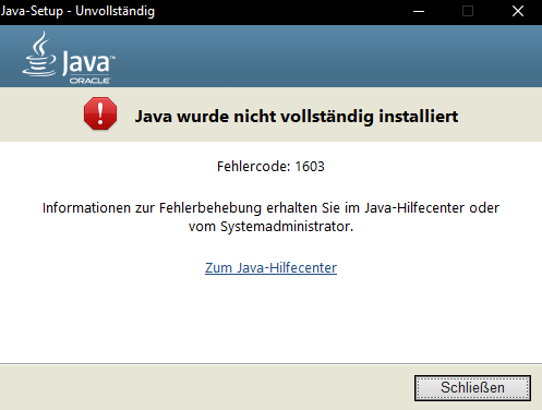 Klicke auf die Grafik für eine größere Ansicht  Name:Java 1603 Error.PNG Hits:46 Größe:13,0 KB ID:651693