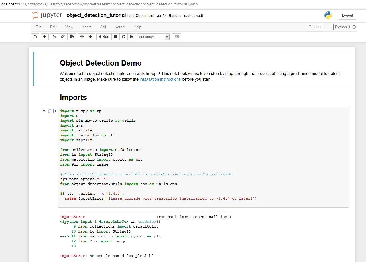 Tensorflow Installation   Fehler beim Import Jupyter Notebook ...