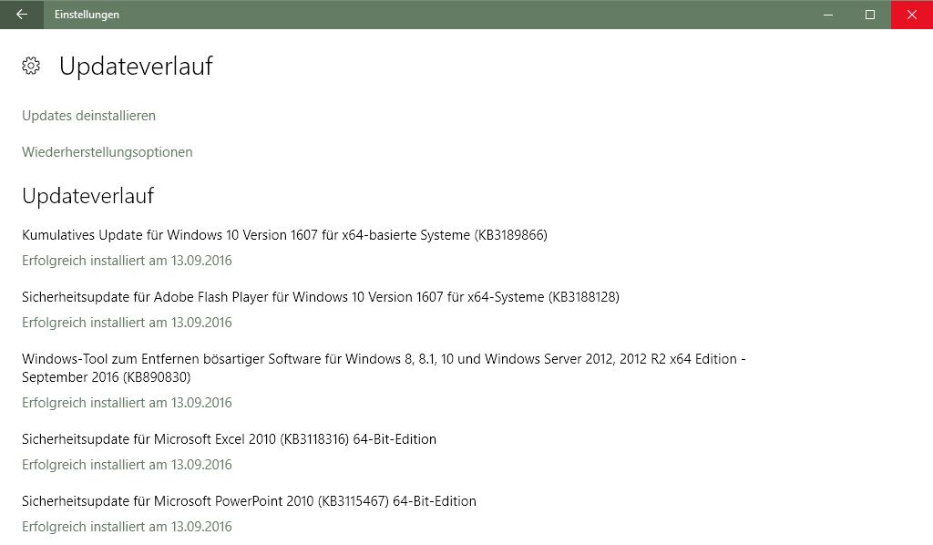 Klicke auf die Grafik für eine größere Ansicht  Name:Kumulatives Update KB3189866 erfolgreich installiert!.png Hits:462 Größe:46,0 KB ID:580969