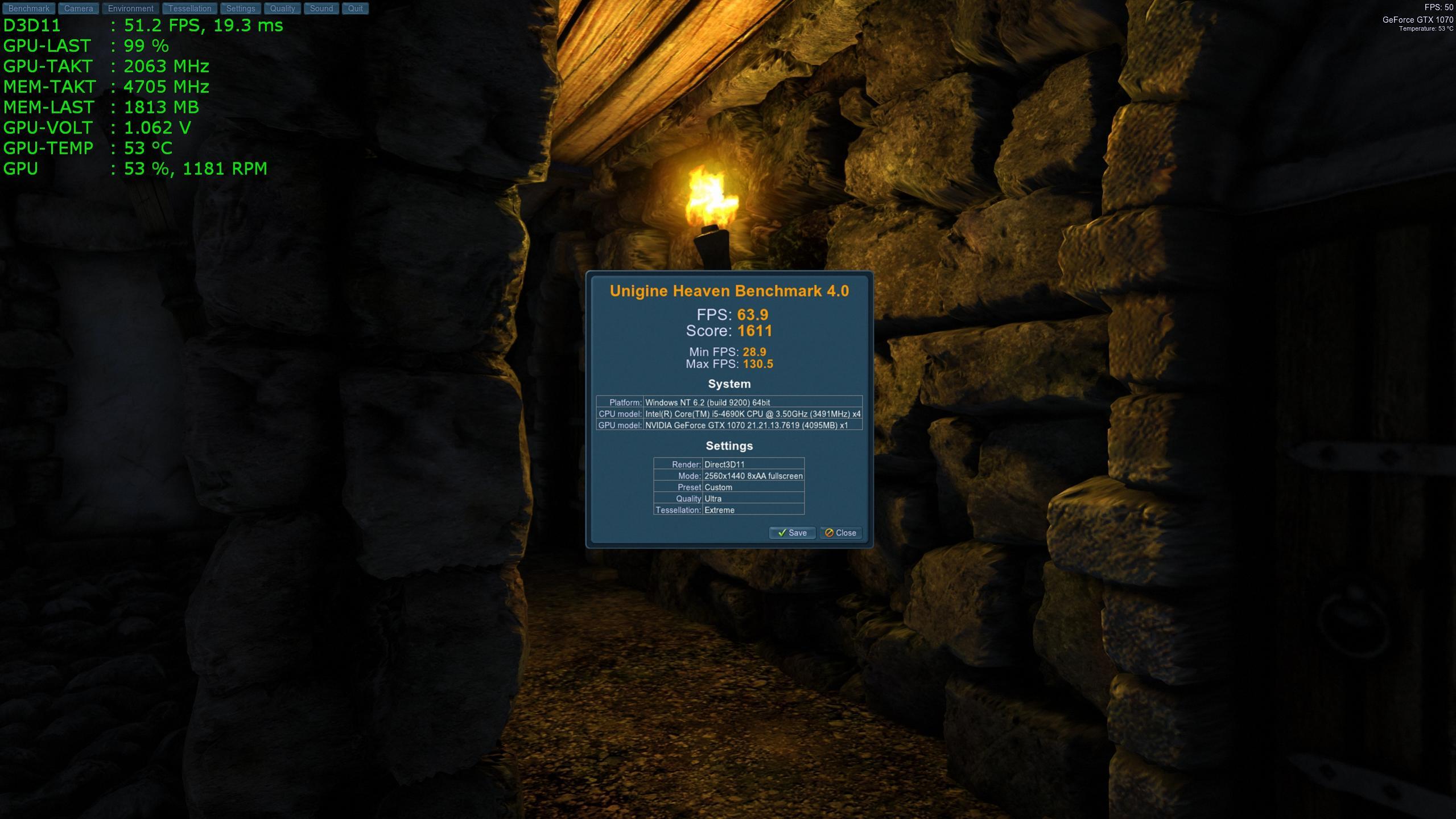 Klicke auf die Grafik für eine größere Ansicht  Name:MSI GTX 1070 Gaming X mit Unigine Heaven 4.0.jpg Hits:216 Größe:298,7 KB ID:596523