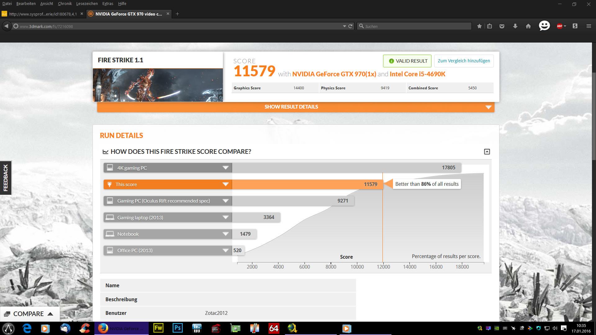 Klicke auf die Grafik für eine größere Ansicht  Name:MSI GTX 970 Gaming & i5 4690K Firestrike 1.1 Benchmark.jpg Hits:218 Größe:243,0 KB ID:578315