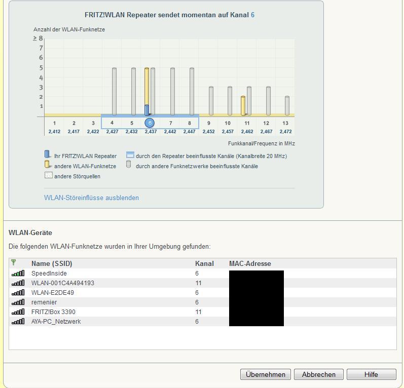 avm repeater 310, konfigurationsmenü nicht aufrufbar