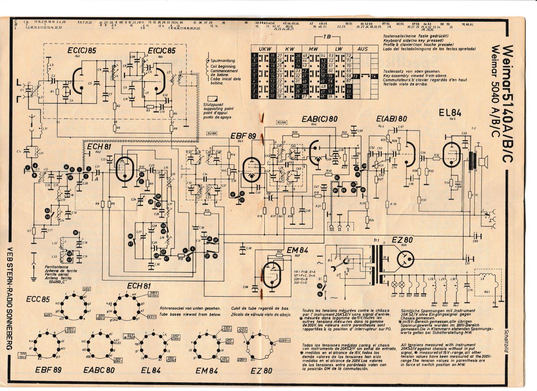 Altes Radio Weimar 5140 A brummt durch Mopedgeräusche und ist defekt ...