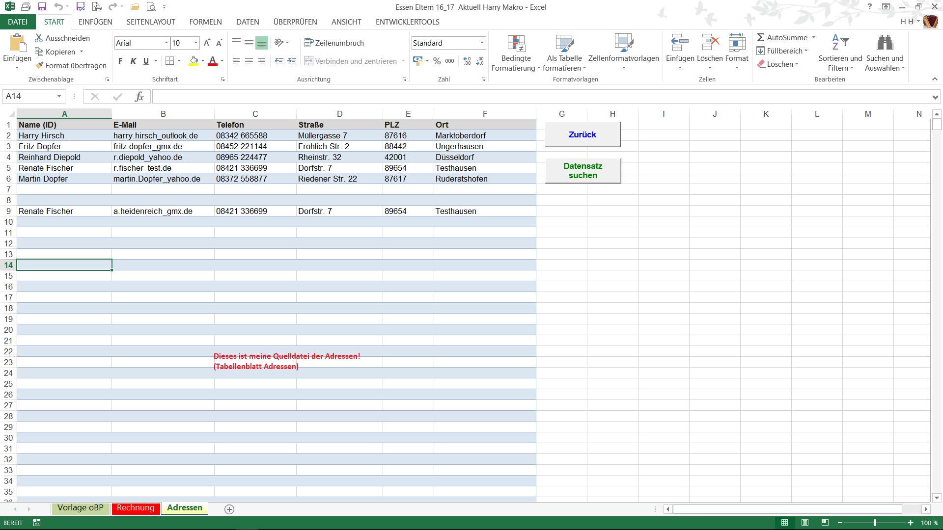 VBA Button in Excel für aktuelle Adresse in ein anderes ...