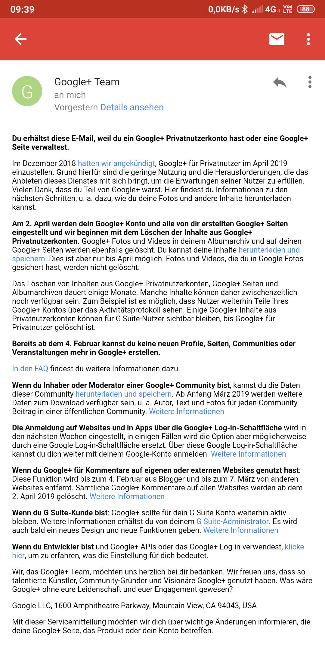 Privates Google+ Konto Wird Am 2 April 2021 Gelöscht