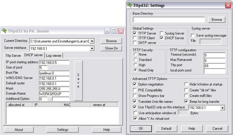 Klicke auf die Grafik für eine größere Ansicht  Name:tftpd32_conf.png Hits:21144 Größe:23,1 KB ID:61764