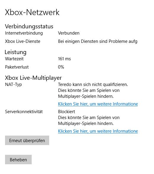 Windows 10 Xbox App - Teredo kann sich nicht qualifizieren
