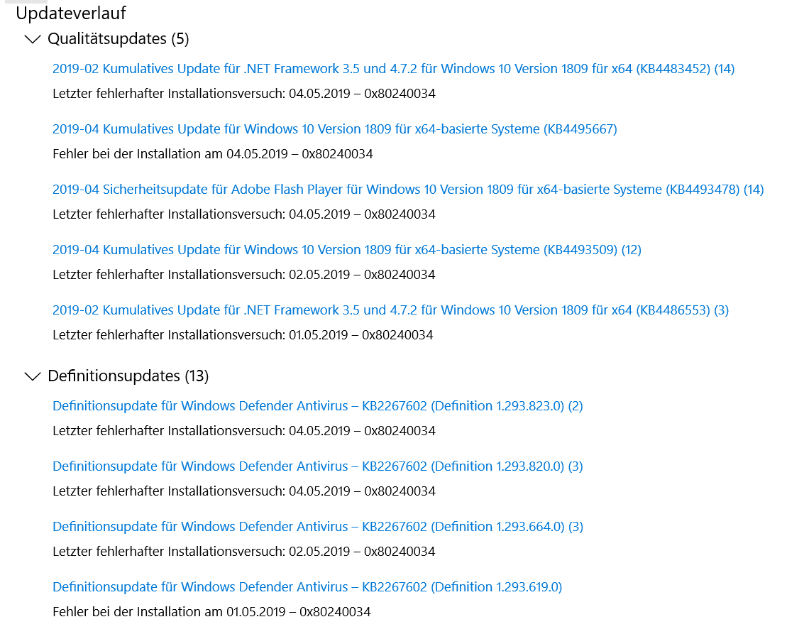 Keine Windows 10 Updates seit Monaten    | ComputerBase Forum
