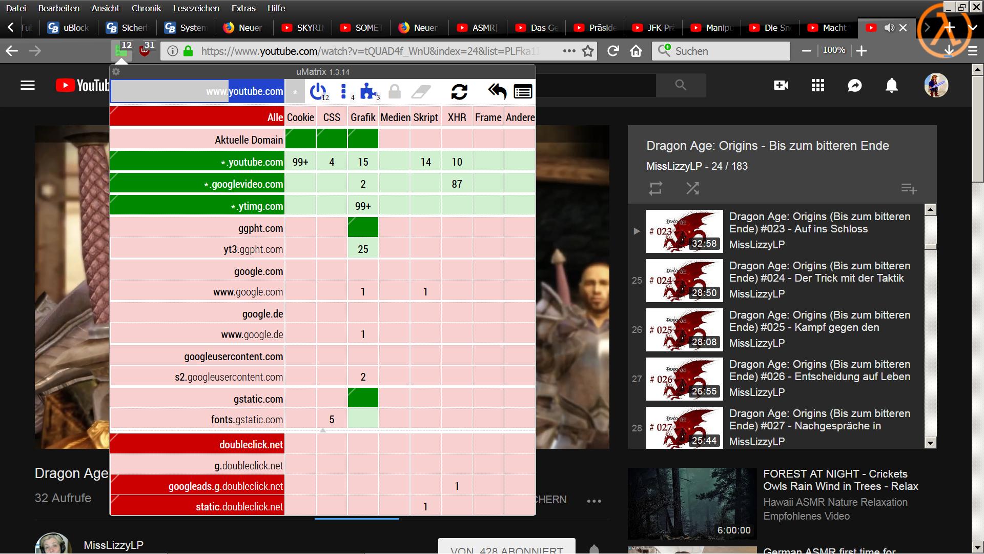 uBlock Origin nur für 1 Seite aktivieren bzw  uMatrix und Youtube
