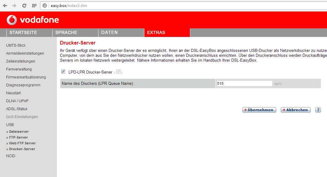 Drucker per USB an Vodafone Easybox 803a | ComputerBase Forum